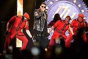 Photos of the reggaeton musicians Daddy Yankee and Don Omar performing live on stage at Madison Square Garden, NYC on July 30, 2016. © Matthew Eisman/ FilmMagic. All Rights Reserved