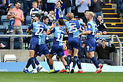 Wycombe's Joe Jacobson (3) celebrates his goal during the EFL Sky Bet League 1 match between Wycombe Wanderers and Lincoln City at Adams Park, High Wycombe, England on 7 September 2019.