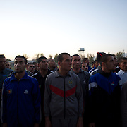 November 14, 2012 - Kabul, Afghanistan: Afghan National Police (ANP) cadets line up for morning exercise at the Afghan Nacional Police Academy...ANP Academy trains 1250 cadets at the time during a period of four years. Every year, five hundred new recruits are selected, out of more than nine thousand of candidates, to join the academy and other five hundred graduate. Fifteen per cent of the recruits are women. (Paulo Nunes dos Santos)