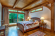 View of the master bedroom in the Dry Creek, community of Lake James in Morganton, North Carolina.