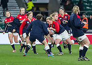 Izzy Noel-Smith during warm up, England Women v Ireland Women in a 6 Nations match at Twickenham Stadium, Whitton Road, Twickenham, England, on 27th February 2016