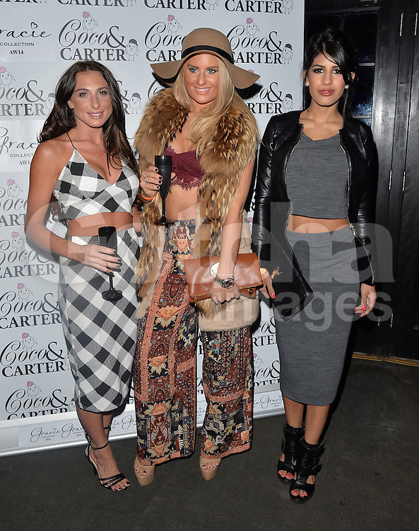 TOWIE stars Grace Andrews, Danielle Armstrong and Jasmin Walia attend the Coco and Cater clothing launch party at Sugahut, Brentwood, Essex, UK. 23/10/2014<br />BYLINE MUST READ : GOTCHAIMAGES.COM<br /><br />Copyright by &copy; Gotcha Images Ltd. All rights reserved.<br />Usage of this image is conditional upon the acceptance <br />of Gotcha Images Ltd, terms and conditions available at<br />www.gotchaimages.com