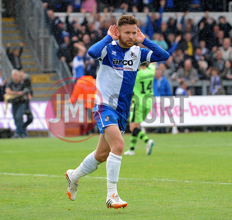 Bristol Rovers' Matty Taylor celebrates his goal - Photo mandatory by-line: Neil Brookman/JMP - Mobile: 07966 386802 - 03/05/2015 - SPORT - Football - Bristol - Memorial Stadium - Bristol Rovers v Forest Green Rovers - Vanarama Football Conference