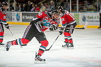 KELOWNA, CANADA - OCTOBER 10: MacKenzie Johnston #22 of the Kelowna Rockets warms up on the ice as the Spokane Chiefs visit the Kelowna Rockets on October 10, 2012 at Prospera Place in Kelowna, British Columbia, Canada (Photo by Marissa Baecker/Shoot the Breeze) *** Local Caption ***