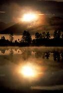 Sunrise at Lake Matheson near Fox Glacier, South island, New Zealand. 1999