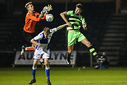 Forest Green Rovers William Davidson(5) challenges Bristol Rovers goalkeeper Liam Armstrong(1) during the The FA Youth Cup match between Bristol Rovers and Forest Green Rovers at the Memorial Stadium, Bristol, England on 2 November 2017. Photo by Shane Healey.