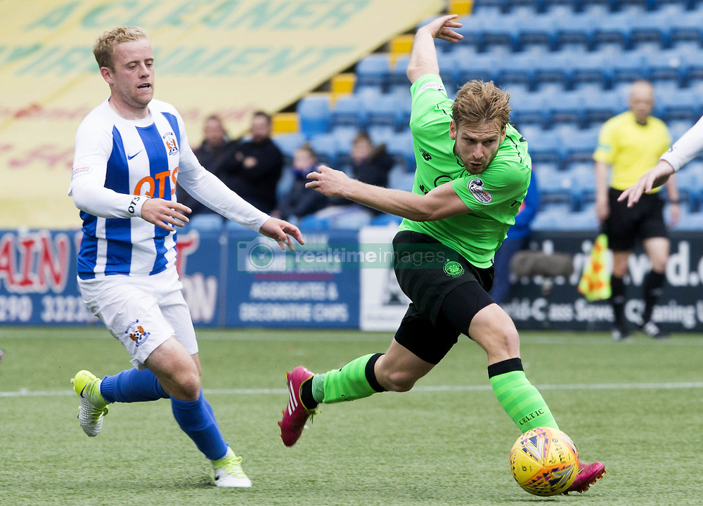 Kilmarnock's Rory McKenzie (left) and Celtic's Stuart Armstrong during the Scottish Premiership match at Rugby Park, Kilmarnock.