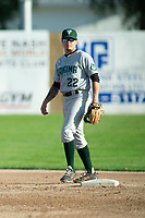 KELOWNA, BC - JULY 24:  Tanner Parker #22 of the Yakima Valley Pippens stands at second base against the the Kelowna Falcons at Elks Stadium on July 24, 2019 in Kelowna, Canada. (Photo by Marissa Baecker/Shoot the Breeze)