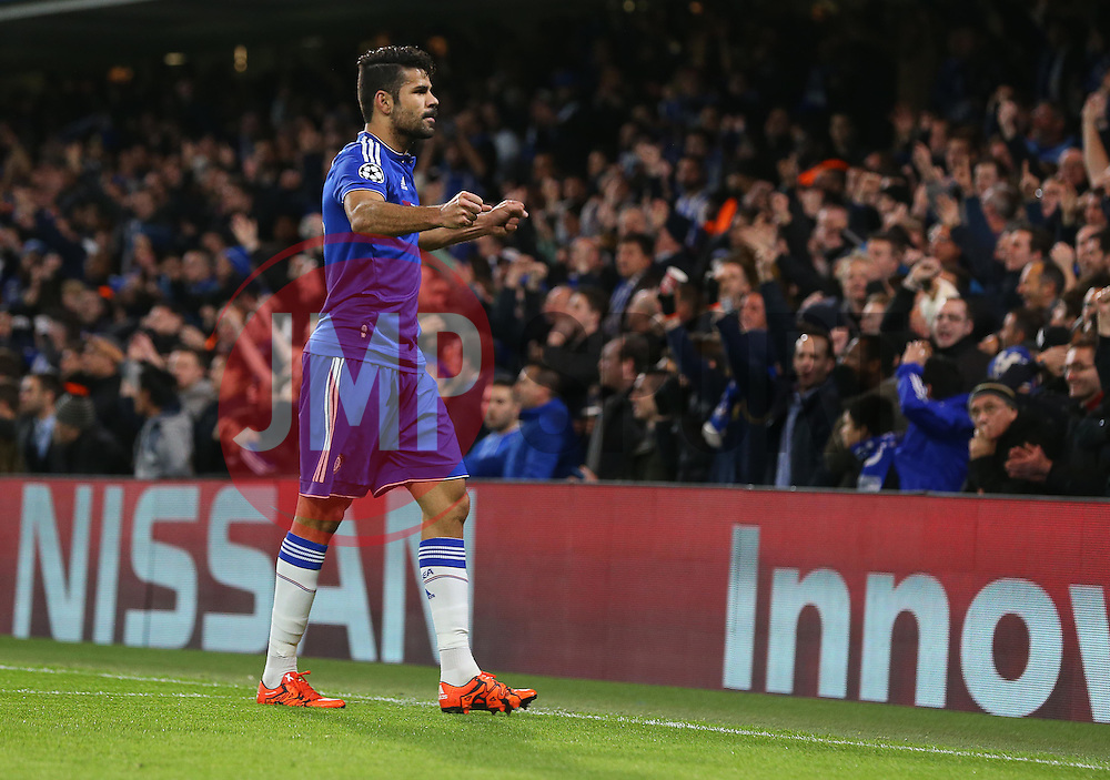 Diego Costa of Chelsea celebrates after Ivan Marcano of FC Porto ( not pictured ) scores an own goal to make it 1-0 - Mandatory byline: Paul Terry/JMP - 09/12/2015 - Football - Stamford Bridge - London, England - Chelsea v FC Porto - Champions League - Group G