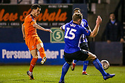 Luton Town defender Dan Potts (3) shoots towards the goal  during the The FA Cup 3rd round replay match between Luton Town and Sheffield Wednesday at Kenilworth Road, Luton, England on 15 January 2019.