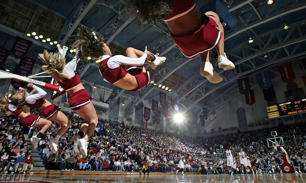 Temple cheerleaders do flip during in the first half Saturday, December 31, 2005 at The Palestra in Philadelphia, PA. Villanova University defeated Temple University 75-53.