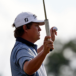 Apr 29, 2012; Avondale, LA, USA; Jason Dufner reacts after defeating Ernie Els in a two hole playoff in the final round of the Zurich Classic of New Orleans at TPC Louisiana. Mandatory Credit: Derick E. Hingle-US PRESSWIRE