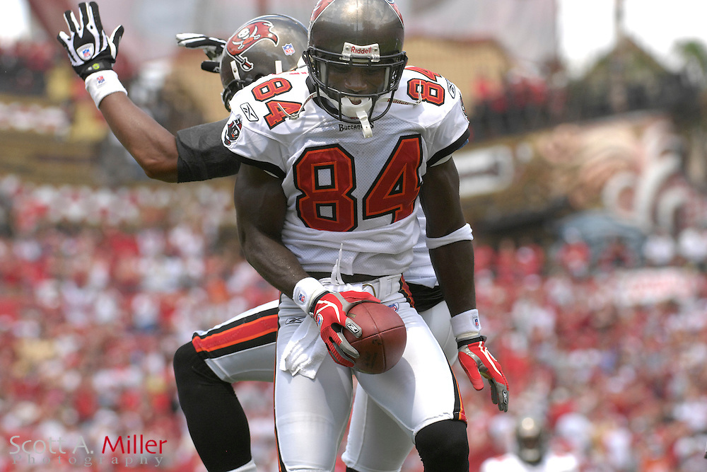 Sep 16, 2007; Tampa, FL, USA; Tampa Bay Buccaneers receiver (84) Joey Galloway celebrates his second quarter touchdown with teammate Michael Clayton in their game against the New Orleans Saints at Raymond James Stadium. Mandatory Credit: Scott A. Miller-US PRESSWIRE..©2007 Scott A. Miller