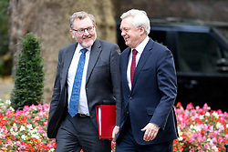 © Licensed to London News Pictures. 17/10/2017. London, UK. Secretary of State for Scotland David Mundell and Secretary of State for Exiting the European Union David Davis arriving in Downing Street to attend a Cabinet meeting this morning. Photo credit : Tom Nicholson/LNP