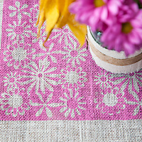 Burlap projects: Detail of stenciled table runner