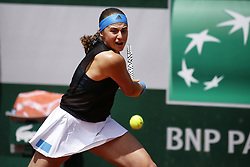 May 28, 2019 - Paris, France - Jelena Ostapenko battles Victoria Azarenka in the Round of 128 on Simonne Mathieu court in Roland Garros, in Paris, France, on May 28, 2019. (Credit Image: © Ibrahim Ezzat/NurPhoto via ZUMA Press)