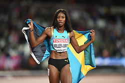 August 11, 2017 - London, England, United Kingdom - Shaunae Miller-Uibo of Bahamas celebrating bronze in the 200 meter  final in London at the 2017 IAAF World Championships athletics at the London Stadium in London on August 11, 2017. (Credit Image: © Ulrik Pedersen/NurPhoto via ZUMA Press)