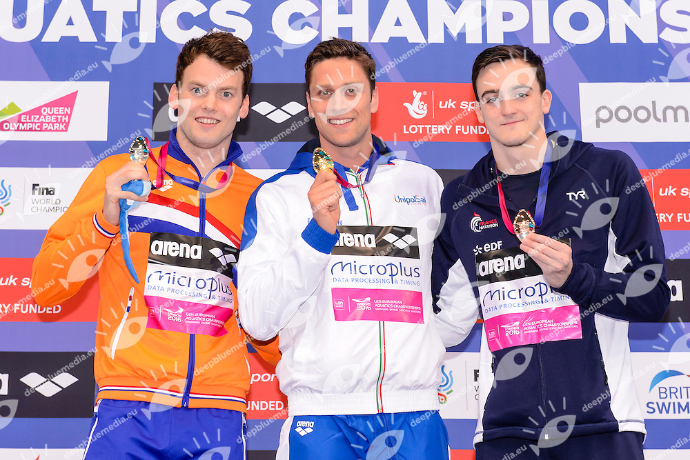 Sebastiaan VERSCHUREN NED Silver Medal <br /> Luca DOTTO ITA Gold Medal <br /> Clement MIGNON FRA Bronze Medal <br /> 100m Freestyle Men Final <br /> London, Queen Elizabeth II Olympic Park Pool <br /> LEN 2016 European Aquatics Elite Championships <br /> Swimming<br /> Day 12 20-05-2016<br /> Photo Giorgio Scala/Deepbluemedia/Insidefoto