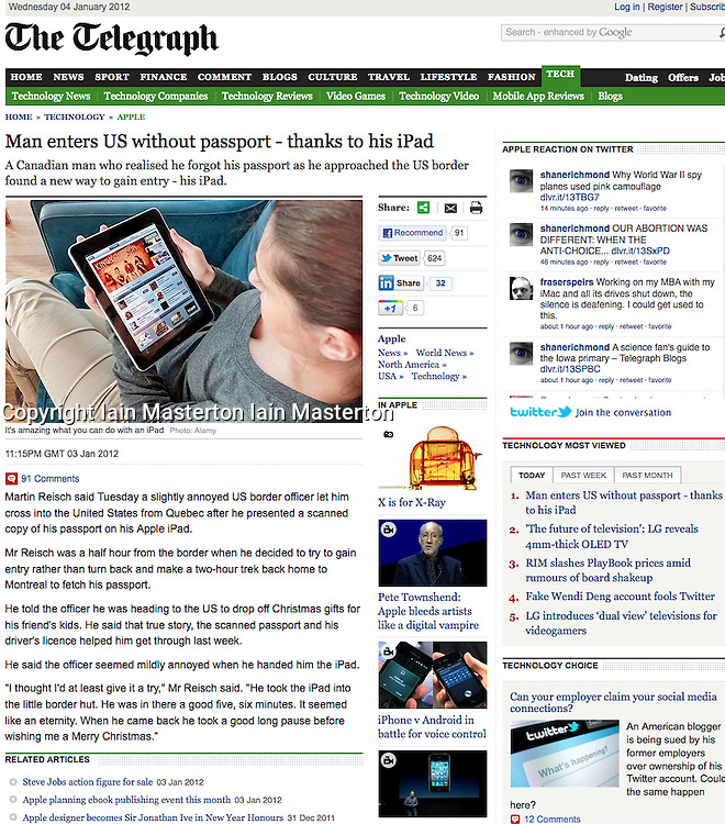 Tearsheet from The Telegraph- Woman using iPad