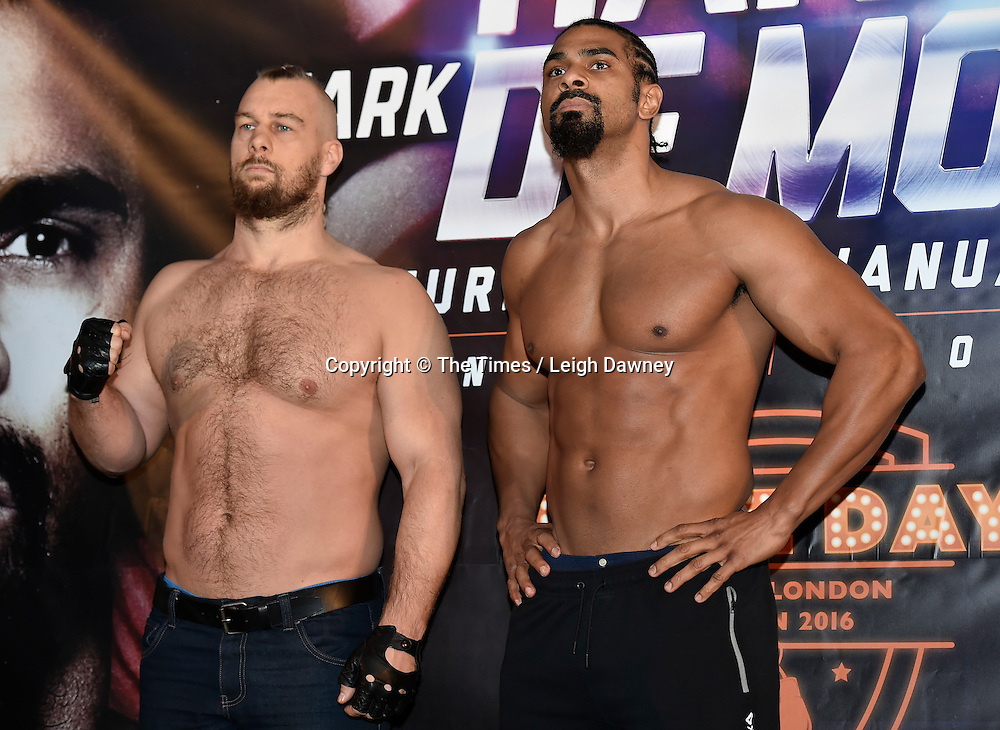 David Haye (r) with Mark de Mori at the official weigh in ahead of their Heavyweight contest. The O2, London. 15th January 2016. Credit: Times Photographer Leigh Dawney