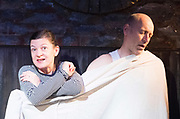 East <br /> By Steven Berkoff <br /> At the King's Head Theatre, London, Great Britain <br /> Press photocall<br /> 10th January 2018 <br /> <br /> <br /> <br /> Debra Penny as Mum <br /> <br /> Russell Barnett as Dad <br /> <br /> Debut performance was at The King's Head in 1975 <br /> Directed by Jessica Lazar <br /> <br /> <br /> <br /> <br /> <br /> Photograph by Elliott Franks