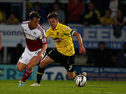 Fulham's Scott Parker turns away from Burton Albion's Lee Bell-Photo mandatory by-line: Matt Bunn/JMP - Tel: Mobile: 07966 386802 27/08/2013 - SPORT - FOOTBALL - Pirelli Stadium - Burton - Burton Albion V Fulham -  Capital One Cup - Round 2