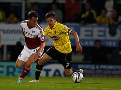 Fulham's Scott Parker turns away from Burton Albion's Lee Bell-Photo mandatory by-line: Matt Bunn/JMP - Tel: Mobile: 07966 386802 27/08/2013 - SPORT - FOOTBALL - Pirelli Stadium - Burton - Burton Albion V Fulham -  Capital One Cup - Round 2