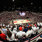 "22 December 2018: Viejas Arena was a packed house for the ""white out"" game against the Brigham Young Cougars. The Aztecs beat the Cougars 90-81 Satruday afternoon at Viejas Arena."