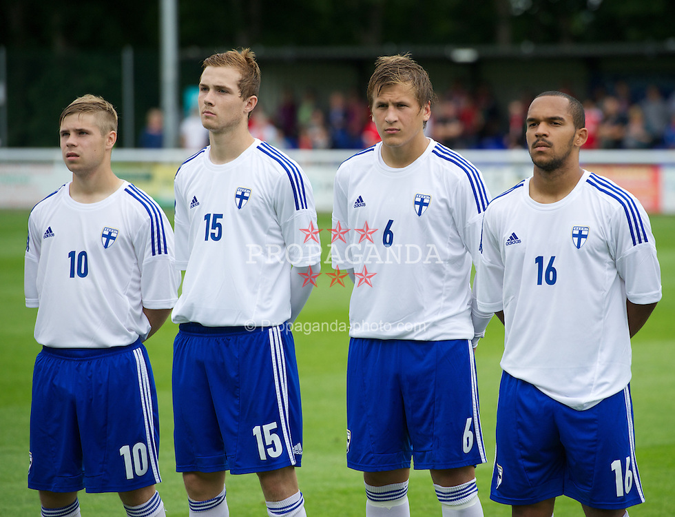 BANGOR, WALES - Wednesday, August 14, 2013: Finland's Aleksi Paananen, Patrick O'Shaughnessy, Robin Lod and Nikolai Alho before the UEFA Under-21 Championship 2015 Group 1 match against Wales at Nantporth Stadium. (Pic by Dave Richards/Propaganda)