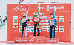 16.02.2020, Kulm, Bad Mitterndorf, AUT, FIS Ski Flug Weltcup, Kulm, Herren, im Bild v.l. Ryoyu Kobayashi (JPN, 2. Platz), Stefan Kraft (AUT, 1. Platz), Timi Zajc (SLO, 3. Platz) // v.l.: Ryoyu Kobayashi (JPN 2nd place) Stefan Kraft (AUT 1st place) Timi Zajc (SLO 3rd place) during the men's FIS Ski Flying World Cup at the Kulm in Bad Mitterndorf, Austria on 2020/02/16. EXPA Pictures © 2020, PhotoCredit: EXPA/ JFK