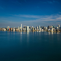 Aerial view of Miami Skyline looking from Biscayne bay showing the Brickell and downtown area.