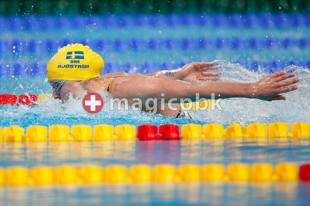 Sarah SJOSTROM (SJOESTROEM) of Sweden on her way to clock in a new World Record time in the women's 100m Butterfly Semifinal during the 16th FINA World Swimming Championships held at the Kazan arena in Kazan, Russia, Sunday, Aug. 2, 2015. (Photo by Patrick B. Kraemer / MAGICPBK)