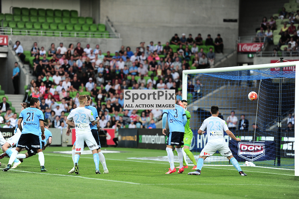 First goal for the match from Aaron Hughes of Melbourne City - Hyundai A-League, January 2nd 2016, RD13 match between Melbourne City FC V Sydney FC at Aami Park, Melbourne, Australia in a 2:2 draw. © Mark Avellino | SportPix.org.uk