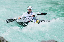 Tim Kolar of Slovenia competes in 3 x K1 men at sprint teams race at European wildwater Canoeing Championships Soca 2013 on May 12, 2013 in Trnovo ob Soci, Soca river, Slovenia. (Photo By Vid Ponikvar / Sportida)