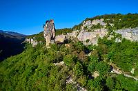 Georgie, Caucase, region de Imereti, l'eglise piton de Katskhi, vue aerienne // Georgia, Caucasus, Imereti region, Katskhi Column church, aerial view