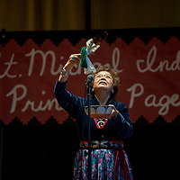 Sister Marilyn Ross performs a traditional invocation before the 2018 Saint Michael Indian School Princess Pageant in St. Michael Thursday.