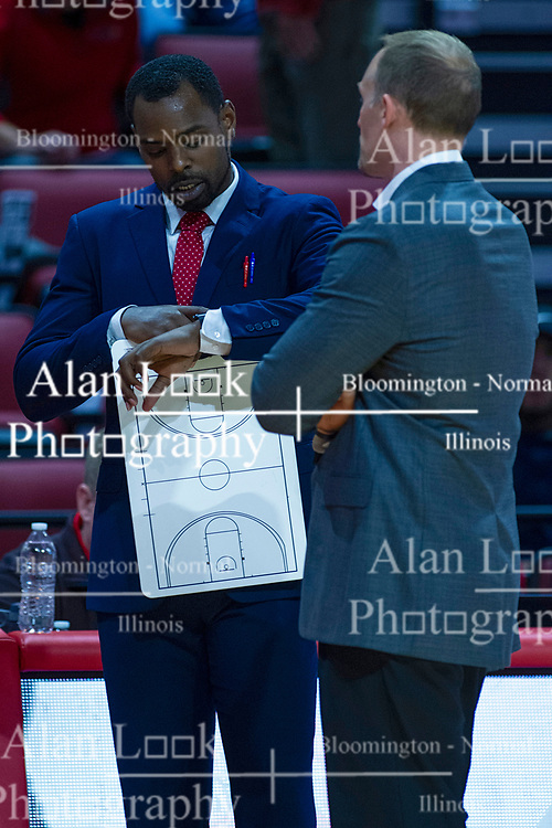 NORMAL, IL - October 23: Spencer Johnson and Dan Muller during a college basketball game between the ISU Redbirds and the Truman State Bulldogs on October 23 2019 at Redbird Arena in Normal, IL. (Photo by Alan Look)