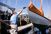 Mischief, Herreshoff S Class, launched at Casey's Marina after a restoration by Steve White.