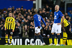 Everton's Romelu Lukaku is substituted after picking up a hamstring injury- Photo mandatory by-line: Matt McNulty/JMP - Mobile: 07966 386802 - 26/02/2015 - SPORT - Football - Liverpool - Goodison Park - Everton v Young Boys - UEFA EUROPA LEAGUE ROUND OF 32 SECOND LEG