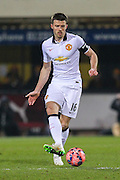 Manchester United's Michael Carrick during the The FA Cup match between Cambridge United and Manchester United at the R Costings Abbey Stadium, Cambridge, England on 23 January 2015. Photo by Phil Duncan.