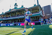 Roger Tuivasa-Sheck leads the Warriors on to the SCG. Sydney Roosters v Vodafone Warriors. NRL Rugby League. Sydney Cricket Ground, Sydney, Australia. 18th August 2019. Copyright Photo: David Neilson / www.photosport.nz