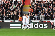 Swansea city's Wayne Routledge (15)celebrates with Danny Graham after he scores the opening goal. Barclays Premier league, Swansea city v Aston Villa at the Liberty Stadium in Swansea, South Wales on New Years Day, Tuesday 1st Jan 2013. pic by Andrew Orchard, Andrew Orchard sports photography,