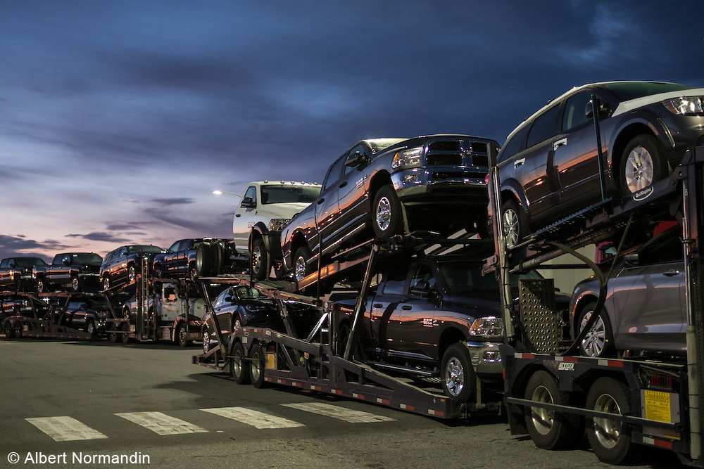 Car transporters at ferry lineup, Tsawwassen