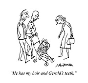 """He has my hair and Gerald's teeth."""