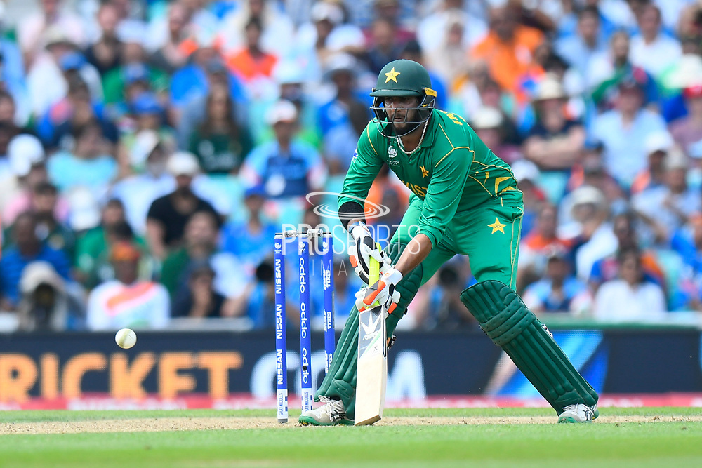 Imad Wasim of Pakistan plays a paddle shot during the ICC Champions Trophy final match between Pakistan and India at the Oval, London, United Kingdom on 18 June 2017. Photo by Graham Hunt.