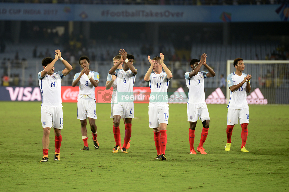 October 25, 2017 - Kolkata, West Bengal, India - England payers celebrate their win against Brazil at the FIFA U 17 World Cup India 2017 Semi Final match in Kolkata. Players of England and Brazil in action during the FIFA U 17 World Cup India 2017 Semi Final match on October 25, 2017 in Kolkata. (Credit Image: © Saikat Paul/Pacific Press via ZUMA Wire)
