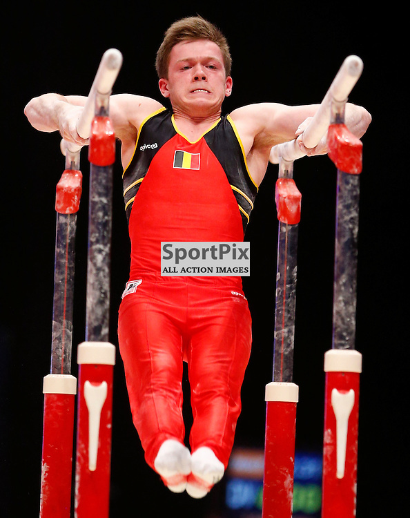 2015 Artistic Gymnastics World Championships being held in Glasgow from 23rd October to 1st November 2015.....Jonathan Vrolix (Belgium) competing in the Parallel Bars competition..(c) STEPHEN LAWSON | SportPix.org.uk