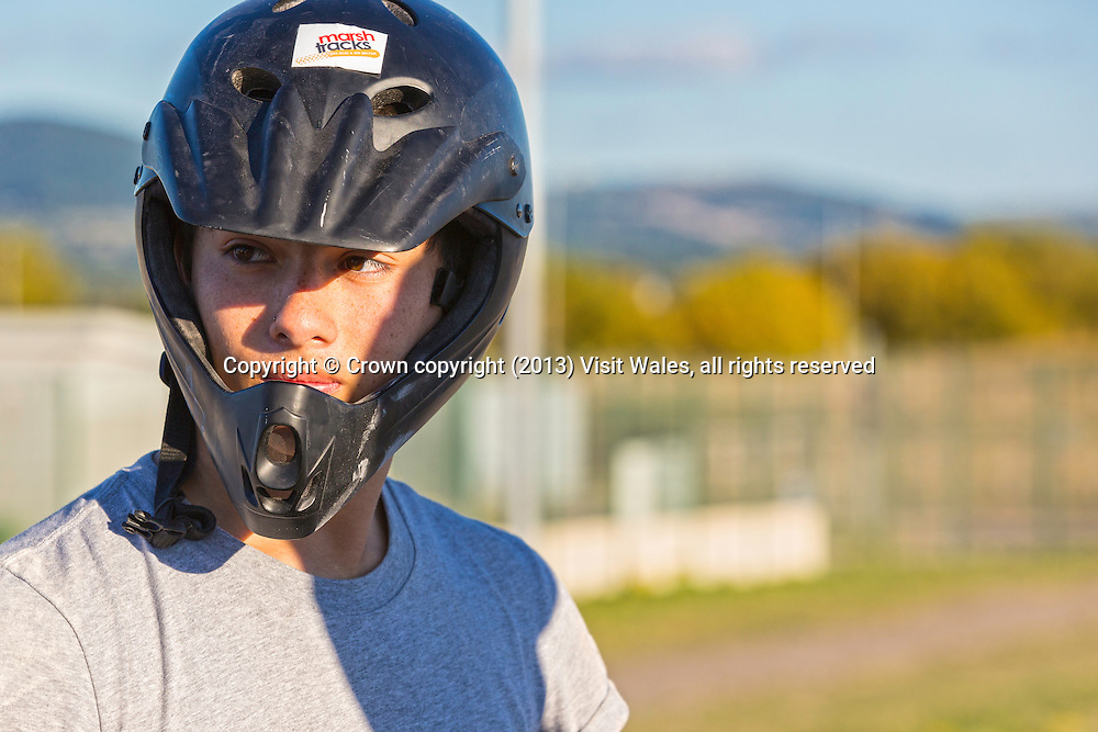 BMX / mountain biking on BMX track<br /> Marsh Tracks<br /> Rhyl<br /> Denbighshire<br /> North<br /> People<br /> Cycling<br /> Activities and Sports