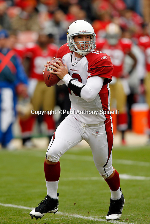 Arizona Cardinals quarterback John Skelton (19) rolls out while looking to throw a pass during the NFL week 17 football game against the San Francisco 49ers on Sunday, January 2, 2011 in San Francisco, California. The 49ers won the game 38-7. (©Paul Anthony Spinelli)