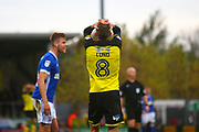 Burton Albion's Matthew Lund reacts after missing a good chance to score during the EFL Sky Bet Championship match between Burton Albion and Ipswich Town at the Pirelli Stadium, Burton upon Trent, England on 28 October 2017. Photo by John Potts.